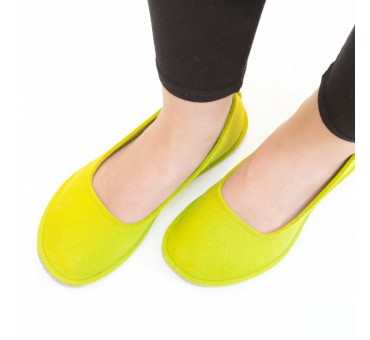 Women's Wool Felt Slippers - Ballerina YELLOW