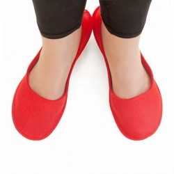 Women's Wool Felt Slippers - Ballerina RED