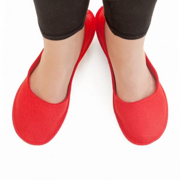 d2cde9c50bc Women s Wool Felt Slippers - Ballerina RED