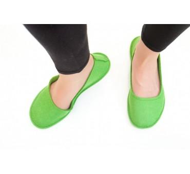 Ženski copati iz filca balerinke - zelena