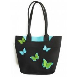 Velika torba iz filca - črna z modrozelenimi metulji