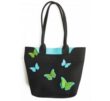 Velika torba iz filca - črna z metulji