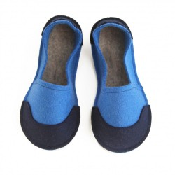 School Kids Wool Felt Slippers - BLUE Boy