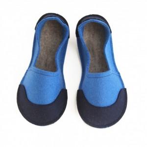 028627da6df7 School Kids Wool Felt Slippers - BLUE Boy