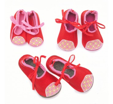 Kids Wool Felt Slippers RED