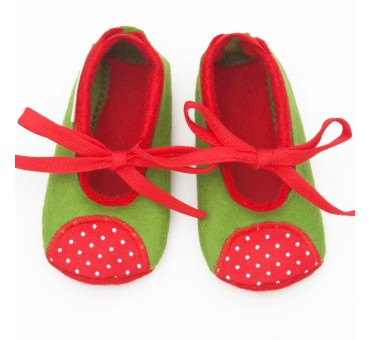 Baby Wool Felt Slippers - GREEN