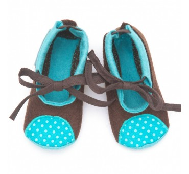 Baby Wool Felt Slippers - BROWN BLUE