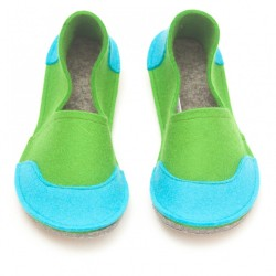 School Kids Wool Felt Slippers - GREEN Boy