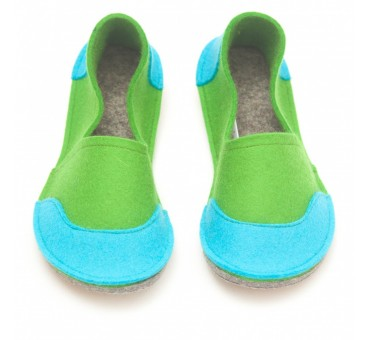 Šolski otroški copati iz filca - zeleni za fante