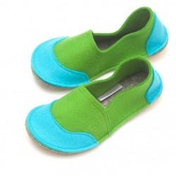School Kids Wool Felt Slippers - GREEN Boy