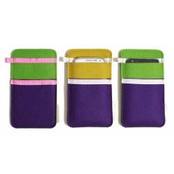 Small Smartphone Wool Felt Slip - VIOLET GREEN MUSTARD
