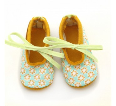 Baby Wool Felt Slippers - Blue Yellow pattern