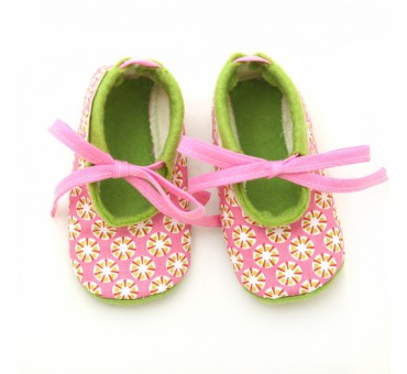 Baby Wool Felt Slippers - Pink Green pattern