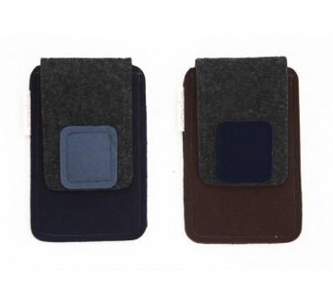 Small Smartphone Wool Felt Case - M-DARK