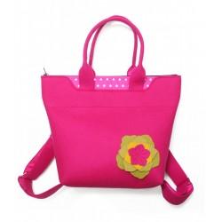 BagPack - Wool Felt 2in1 Bag - PINK Flower