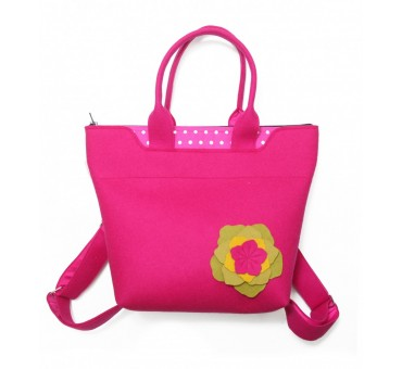 BagPack - Wool Felt 2in1 Bag - PINK Flower