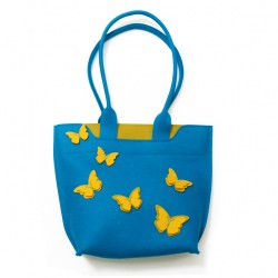 BigBag - Wool Felt Bag - Electric Blue Butterfly