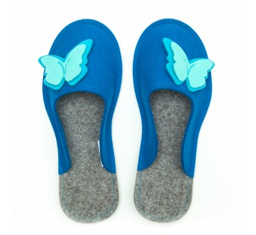 Women's Wool Felt Slippers - ELECTRIC BLUE Butterfly