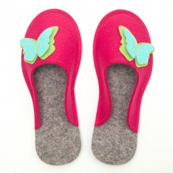 Women's Wool Felt Slippers - Butterfly PINK