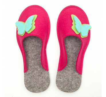 Women's Wool Felt Slippers - PINK Butterfly