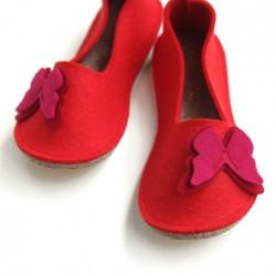 School Kids Wool Felt Slippers - RED Butterfly