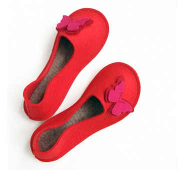 School Kids Wool Felt Slippers - RED Butterfly