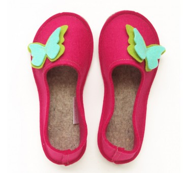 School Kids Wool Felt Slippers - PINK Butterfly