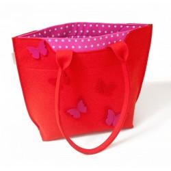 Velika torba iz filca - rdeča z metulji