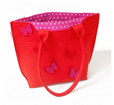 BigBag - Wool Felt Bag - Red Butterfly