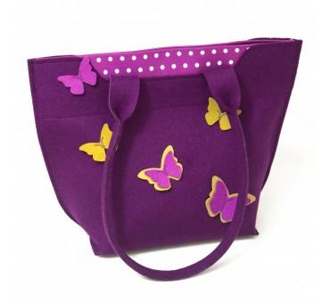 BigBag - Wool Felt Bag - Violet Butterfly