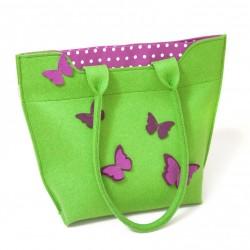 Velika torba iz filca - zelena z metulji