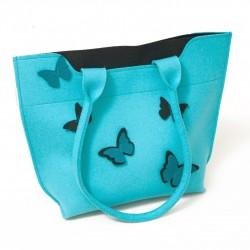 BigBag - Wool Felt Bag - Blue Black Butterfly