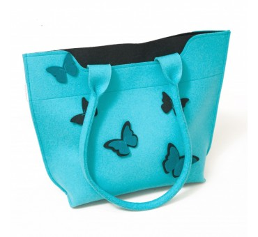 BigBag - Wool Felt Bag - Blue Black Butterfly