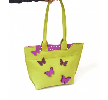 BigBag - Wool Felt Bag - Mustard Butterfly