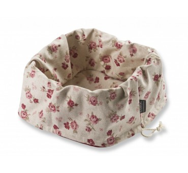 Košek za kruh - cvetlični rdeč - lan