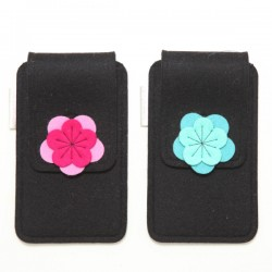 Large Smartphone Wool Felt Case - BLACK - LAST ONE