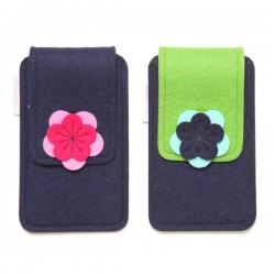 Large Smartphone Wool Felt Case - NAVY - LAST ONE