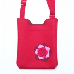 Wool Felt Bag - Red Large Flower - LAST ONE