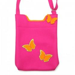 Wool Felt Bag - PINK ORANGE butterfly - LAST ONE