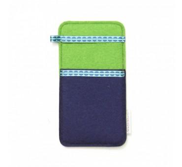 Large Smartphone Wool Felt Slip - BLUE GREEN DOTS