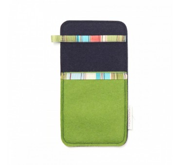 Large Smartphone Wool Felt Slip - GREEN BLUE