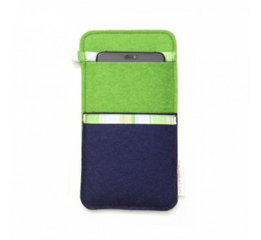 Large Smartphone Wool Felt Slip - BLUE GREEN