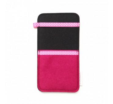 Large Smartphone Wool Felt Slip - PINK BLACK