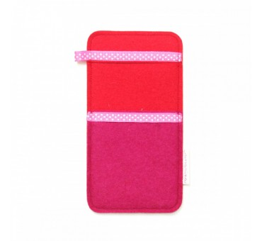 Large Smartphone Wool Felt Slip - PINK RED II