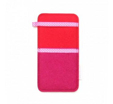 Large Smartphone Wool Felt Slip - PINK RED II