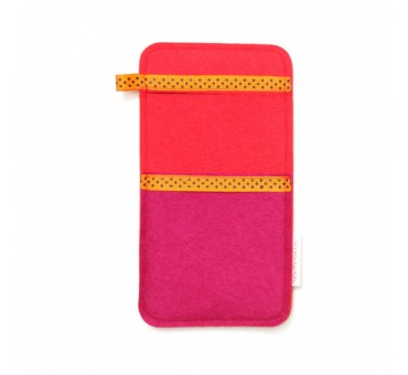 Large Smartphone Wool Felt Slip - PINK RED