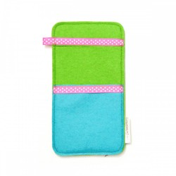 Large Smartphone Wool Felt Slip - GREEN TURQ