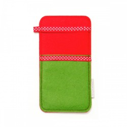 Large Smartphone Wool Felt Slip - GREEN RED