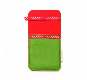 Large Smartphone Wool Felt Slip - GREEN RED