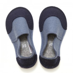 School Kids Wool Felt Slippers - GREEN Boy (25)